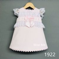 New Arrival Gorgeous Baby Girl Pink Spanish Dress  White Lace